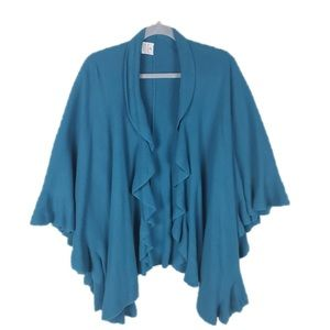 Teal waterfall front one size cape poncho